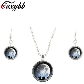 Fashion party glass Moon Pendant necklace earring Galaxy Gift Astronomy Jewelry sets round dome glass necklaces