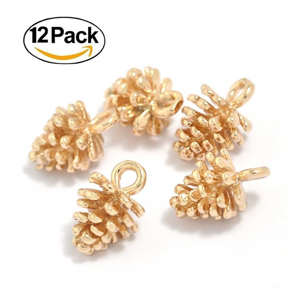 12PCS Gold Brass Small Pine Cones Charms Pendant Accessories Bulk Lots for Jewelry Making