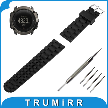 24mm Silicone Rubber Watch Band Stainless Steel Pin Buckle Strap +Tool for Suunto TRAVERSE Replacement Wrist Belt Bracelet Black