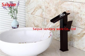 Black Wide waterfall outlet single handle sink faucet for lavatory oil rubbed bronze waterfall mixer Deck Mounted cold hot tap