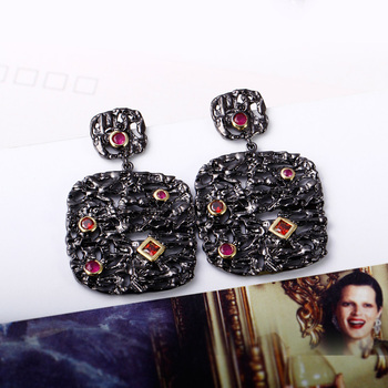 Buy earrings Exaggerated design Evening party Square shaped Bright Red Cubic Zircon Beautiful Ethnic Women boucle d'oreille