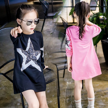 Red pink black dress girls clothes new 2016 autumn kids girls dress shirt long sleeve star pattern dress tops children clothing