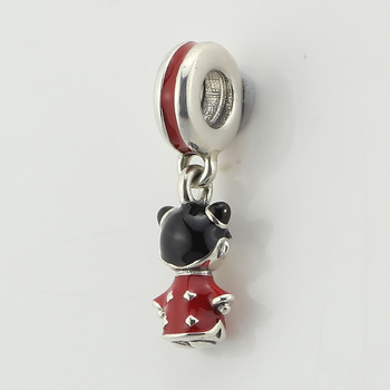 Authentic 925 Sterling Silver Chinese doll silver dangle with red and black enamel Dangle Charms Fit European Bracelets Jewelry