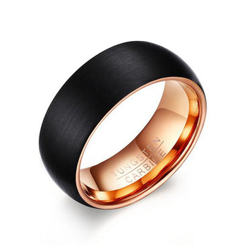Men Brief Design Quality Black Tungsten Ring with Inside Rose Gold Color 8MM Band Ring