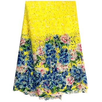 2016Nice Yellow African Lace For Women Dress African Guipure Lace Fabric/Water Soluble Lace Fabric For Wedding