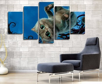 5 Panel Cartoon Alice In Wonderland Cheshire Cat Modern Home Wall Decor Canvas Picture Art HD Print Painting On Canvas Artworks