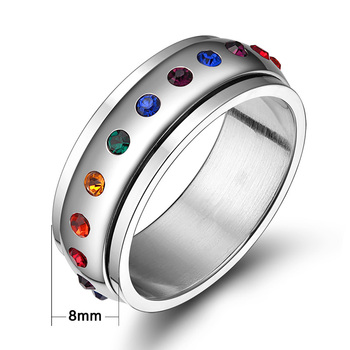 Vnox Rotating Spinner Ring for Women Rainbow Crystal Stone Stainless Steel USA Size