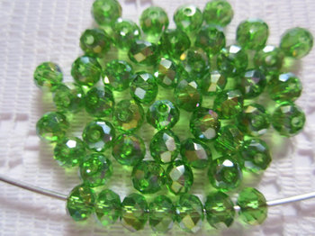 100 adet Orta Noel Yeşil AB Faceted Rondell Kristal Boncuk 4mm x 3mm