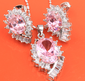 Exquisite Superb Pink Hot White 925 Sterling Silver Nacklace Jewelry Sets Earrings Pendant Woman S8323